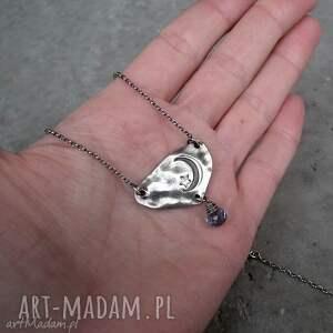 hand made naszyjniki niebieski naszyjnik noc - srebro i kwarc