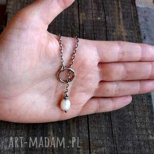 naszyjniki: Naszyjnik przekładany z perłą - srebro 925 delikatny