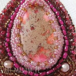 srebrne naszyjniki koraliki naszyjnik - różowy jaspis
