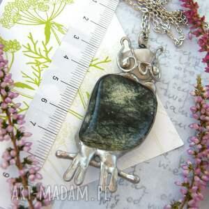 srebrne naszyjniki naszyjnik z-sową : sowa z zielonym jaspisem
