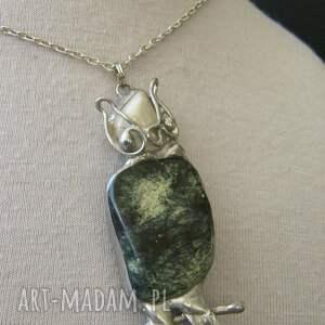 naszyjniki naturalne kamienie naszyjnik: sowa z zielonym jaspisem