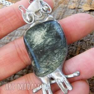 atrakcyjne naszyjniki naturalne kamienie naszyjnik: sowa z zielonym jaspisem