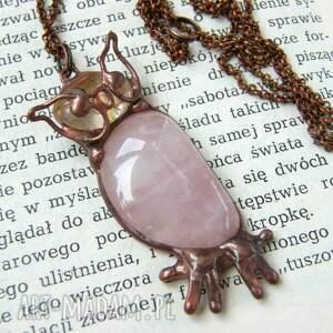 wisior-z-kamieniem naszyjniki naszyjnik: sowa z kwarcem różowym