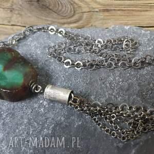 hand made naszyjniki naszyjnik srebrny z przepięknym