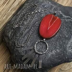 kolorowe naszyjniki biżuteria-autorska naszyjnik srebrny z agatem