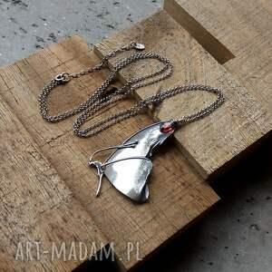 czerwone naszyjniki duży wisior naszyjnik srebrny z motylem