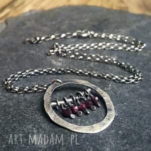 fioletowe naszyjniki naszyjnik-srebro naszyjnik srebrny z granatami