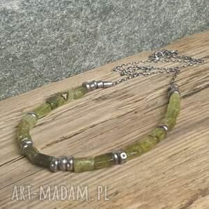 naszyjniki modny naszyjnik srebrny z zielonym