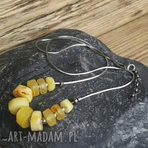 żółte naszyjniki naszyjnik-srebro naszyjnik srebrny z bursztynami