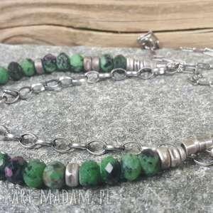 zielone naszyjniki naszyjnik-srebro naszyjnik srebrny z zoisytem