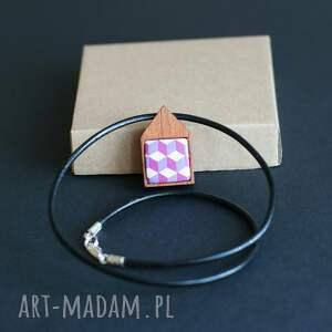różowe naszyjniki drewno naszyjnik w fioletcie