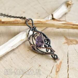 handmade wisior z-miedzi violet elegance - naszyjnik