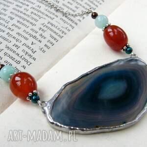 ręcznie robione naszyjniki agat naszyjnik z agatem: niebieski z