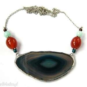ręcznie robione naszyjniki naszyjnik z-kamienia z agatem: niebieski z