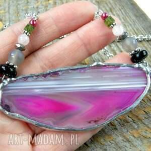 czarne naszyjniki kolorowy-naszyjnik naszyjnik z agatem: różowy