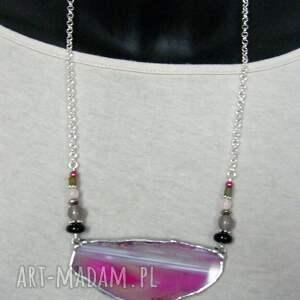 efektowne naszyjniki różowy-naszyjnik naszyjnik z agatem: różowy