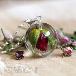 zielone naszyjniki naturalna naszyjnik z czerwoną różą, żywica