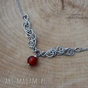 czerwone naszyjniki naszyjnik z karneolem, wire