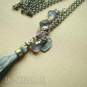 fioletowe naszyjniki srebro naszyjnik z kropelkami iolitu