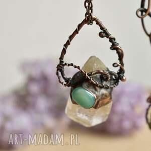 turkusowe naszyjniki naszyjnik z-miedzi z kryształem górskim