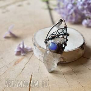 niebieskie naszyjniki kryształ górski piękny surowy w formie naszyjnik z wisiorem