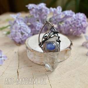naszyjnik kryształ naszyjniki fioletowe z kryształem górskim
