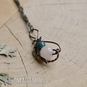 zielone naszyjniki biżuteria naturalna naszyjnik z kwarcem różowym