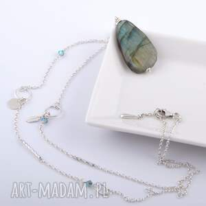 niebieskie naszyjniki srebrny naszyjnik z labradorytem
