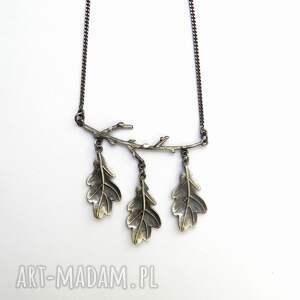 hand made naszyjniki srebro naszyjnik z listkami dębu