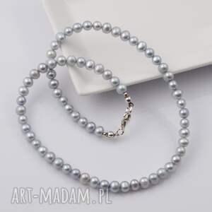 szare naszyjniki srebro naszyjnik z naturalnych pereł_jasno