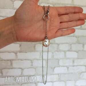 kolorowe naszyjniki srebro-oksydowane naszyjnik z perłą - srebro 925
