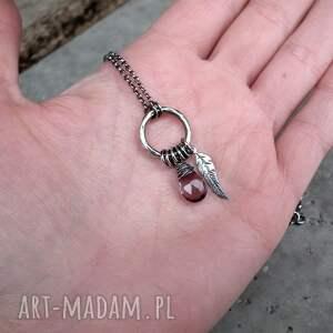 fioletowe naszyjniki piórko naszyjnik z piórkiem - srebro