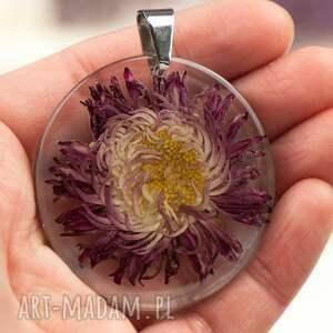 Herbarium Jewelry naszyjniki: z1291 Naszyjnik z prawdziwym kwiatem -5cm - ręczne wykonanie z-kwiatemn