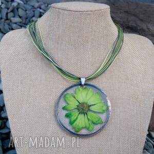 naszyjnik z-kwiatów naszyjniki zielone z suszonym kwiatem wzór