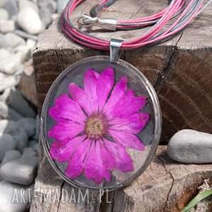srebrne naszyjniki naszyjnik z suszonym kwiatem wzór