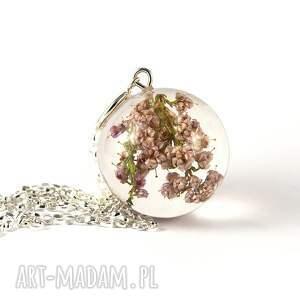 kwiaty naszyjniki naszyjnik z wrzosem, srebrny