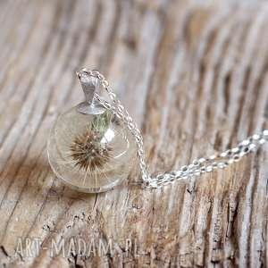 srebrne naszyjniki dmuchawiec naszyjnik z żywicy dmuchawcem no