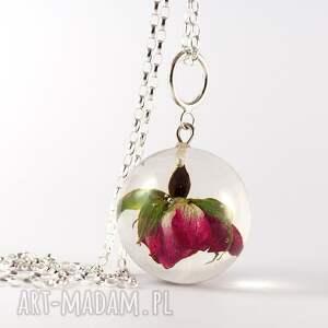 zielone naszyjniki natura naszyjnik z żywicy różą, srebrny