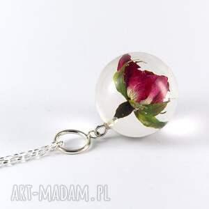 modne naszyjniki żywica naszyjnik z żywicy różą, srebrny