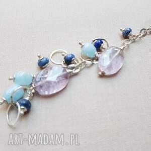 niebieskie naszyjniki delikatne w kolorach kamienie wraz
