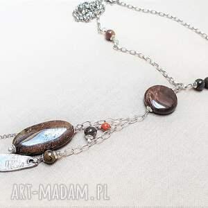 naszyjniki: Naszyjnik ze srebra i jaspisu {517} - srebro oksydowane boho style