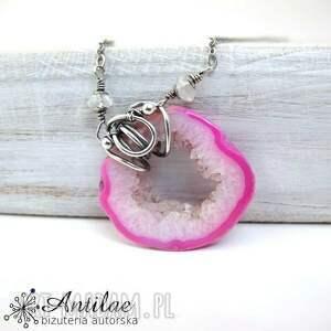 hand made naszyjniki naszyjnik ze srebra i różowego