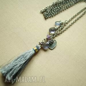 oksydowany naszyjniki piękne kropelki iolitu wraz ze srebrnym