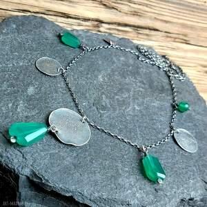 onyks zielony naszyjniki naszyjnik ze srebra i zielonych