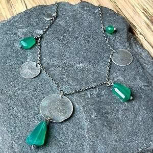 unikalne onyks zielony naszyjnik ze srebra i zielonych
