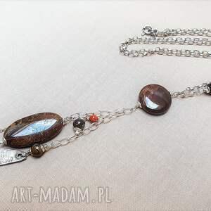 naszyjniki: Naszyjnik ze srebra i jaspisu {517} - srebro oksydowane