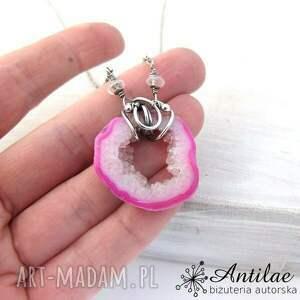 różowe naszyjniki druza naszyjnik ze srebra i różowego