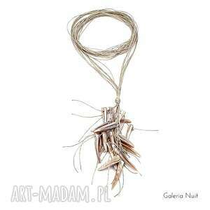 niekonwencjonalne naszyjniki długi naturalny - naszyjnik lniany