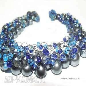 niebieskie naszyjniki naszyjnik niebieska żyłka