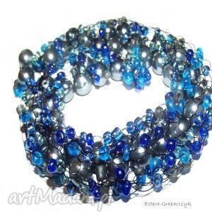 perły naszyjniki niebieska żyłka